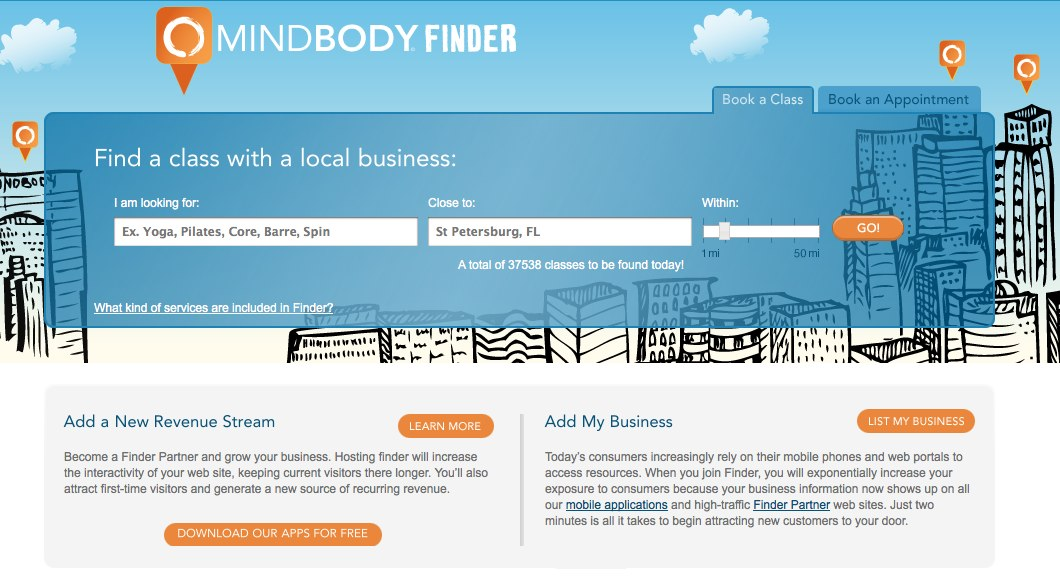 mindbody now has a mobile fitness finder app