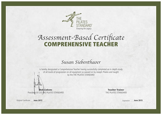 first class to be certified by The Pilates Standard